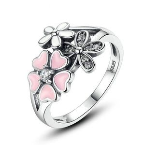 NEW Silver Plated Heart - Floral Enamel Ring Sz 6